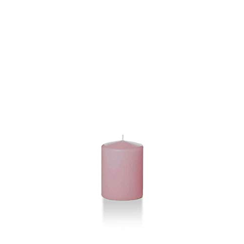 "Yummi 2.25"" x 3"" Light Rose Slim Round Pillar Candles - 4 per Pack"