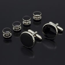 Shirt Stud Formal Set - Blazers Proforms Costumes - Round Black silver Tuxedo Shirt Studs Formal Set Tux Cufflinks