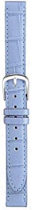 マルマン 婦人用皮革バンド ブルー 型押しワニ ステッチ入り 時計際幅 14mm 美錠幅 12mm
