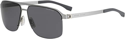 BOSS by Hugo Boss Men's B0839s Rectangular Sunglasses, Matte Ruthenium/smoke Polarized, 61 mm