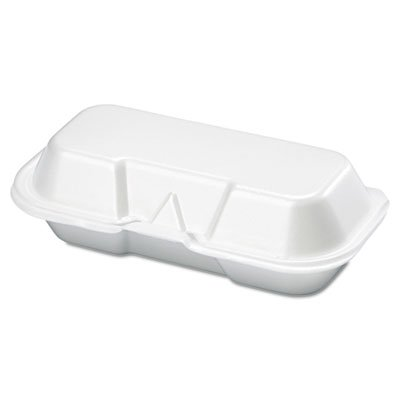 Genpak 21100 Foam Hot Dog Container 7 3/8 x 3 9/16 x 2 1/4 White 125/Bag 4 Bags/Carton