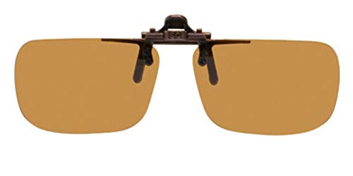 Polarized Brown Clip-on Flip-up Plastic Sunglasses - Deep Rectangle - 54mm X 36mm - Shade Control D-Clips ()