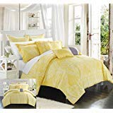 - Chic Home 6 Piece Sicily Oversized Overfilled Comforter Set, Twin, Yellow