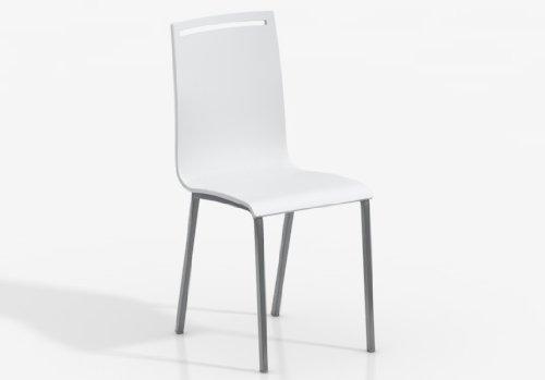 SILLA NERA - Asiento Madera Lacado Blanco /Patas Aluminio, (Varios colores disponibles)