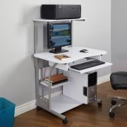 Computer Tower with Shelf and Pull-out Mouse and Keyboard Tray, Computer Tower in Multiple Finishes, Desk with Tray, Office Furniture, Bundle with Expert Guide