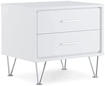 ALBBMY Nightstand Modern Cabinet Night Table in White