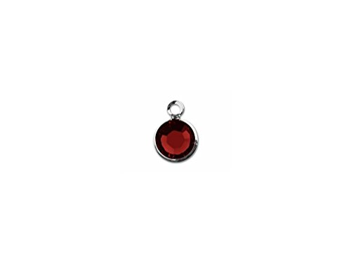 (5 pc January (Siam) Birthstone 7mm Tiny Genuine Swarovski Channel Charm or Drop Silver Plated)