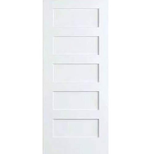 Snavely International 5-Panel Door, White Primed Shaker (Sliding Closet 6 Wood Panel Doors)