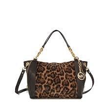 Michael Michael Kors Stanthorpe Large Satchel Handbag Leopard/gold - Bag Mk Leopard