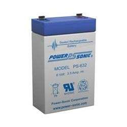 Powersonic PS-632 - 6 Volt/3.5 Amp Hour Sealed Lead Acid Battery with 0.187 Fast-on Connector
