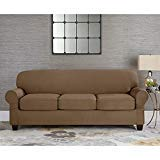 - Sure Fit Suede Taupe Individual Cushion Sofa Slipcover 3 Cushion Style t or Box