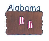Rust Alabama Word On Top Of Frame With Two State Magnets In Red/White