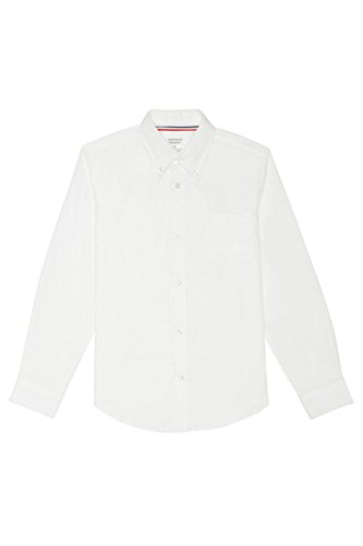 French Toast Big Boys' Long Sleeve Oxford Dress Shirt, White, 10 Button Down Dress Shirt