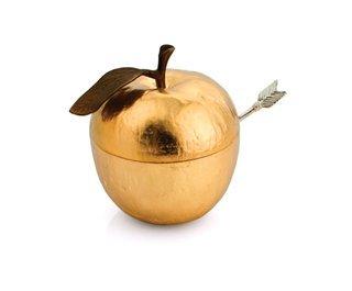 Michael Aram Apple Honey Pot w/ Spoon Goldtone ()