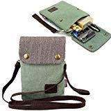 (Gcepls Canvas Small Cute Crossbody Women Cell Phone Purse Wallet Bag with Shoulder Strap for iPhone X iPhone 6s 7 Plus 8 Plus iPhone XS MAX,Galaxy Note 9 S7 S10 Plus (Fits with OtterBox Case)-Green )