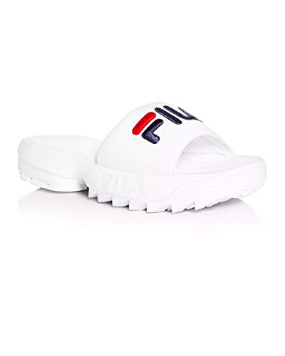 Fila Womens Disruptor Bold Slide White Navy RED Size 11