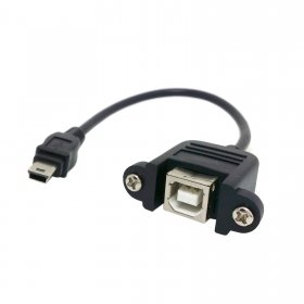 Cablecc Mini USB 5pin Male to USB B Female panel mount type Cable 20cm with screws