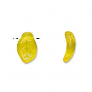 (Bead Czech pressed glass yellow 14x9mm top-drilled leaf)