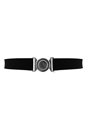 Black Butterfly 1 Inch Elastic Round Buckle Waist Belt (Black, US 2 - 4) (Butterfly Elastic Belt)