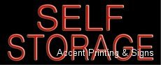 Self Storage Handcrafted Real GlassTube Neon Sign by Accent Printing & Signs