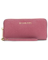 683f5fad013d Image Unavailable. Image not available for. Color: Michael Kors Jet Set  Leather Multi Function Travel Phone Case Tulip Pink