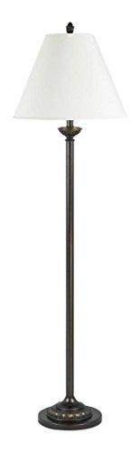Antique Bronze 100 Watt 61in. Traditional / Classic Metal Floor Lamp with On/Off Switch and Round Hardback Fabric Shade from the Collection