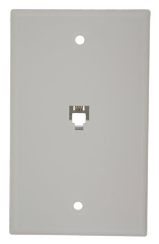 Leviton 40949-W Standard Telephone Wall Jack, 6P4C, Screw Terminals, White