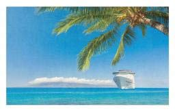 Ambesonne Nautical Doormat, Large Cruise Ship Heads to Tropical Sandy Beach Exotic Panorama Coastal Theme, Decorative Polyester Floor Mat with Non-Skid Backing, 30 W X 18 L Inches, Turquoise -