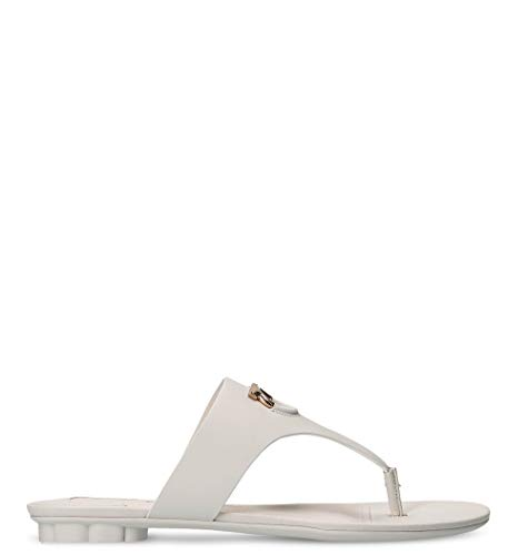 (SALVATORE FERRAGAMO Women's 01N134 White Leather Sandals)