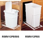 Bottom Mount Trash Pull-Outs with Standard Close, (1)White 50 qt, No Lid, White/100 lb, 11-1/4