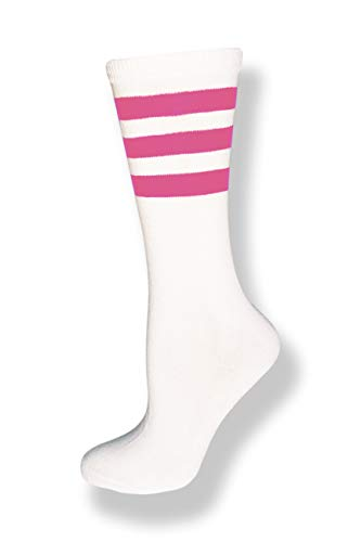 Neon Nation Unisex Calf High White Sock w/Three Stripes (White w/Pink Stripes)