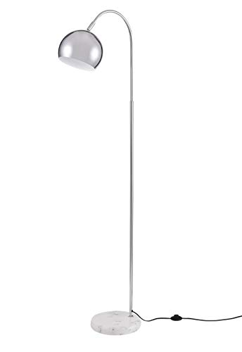 Archiology Loop Floor Lamp, Chrome Standing Light for Home and Office, Modern Lampshade with White Marble Base - Marble Lamp Base