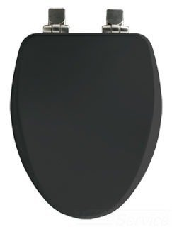 Bemis 7B19170NISL 047 Elongated High Density Molded Wood Closed Front Toilet Seat with Cover, Black