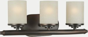 Forte Lighting 5105-03-32 Bath Vanity with Umber Linen Glass Shades, Antique - 3 Umber Vanity Light