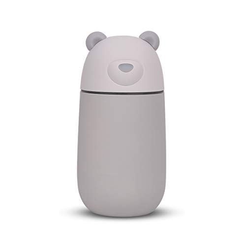 JOLIFILE Portable Mini Cool Mist Humidifier, Bear Baby Vaporizer with Adjustable Mist Mode, Auto Shut-Off,Night Light &USB Fan Function for Home Office car 280ml Grey