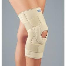 FLA Orthopedics FL37-107LGBEG SAFE-T-SPORT Neoprene Stabilizing Knee Brace with Composite Hinges - Size- Large