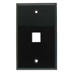 InstallerParts 1Port Keystone Wallplate Black Smooth Face (Cast Iron Single Rocker)