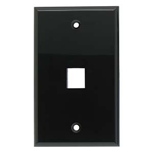 InstallerParts 1Port Keystone Wallplate Black Smooth Face