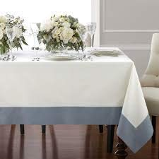 Wamsutta Bordered Linen 70 in x 104 in Oval/Oblong Tablecloth in Blue