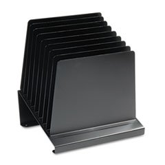 Slanted Vertical Organizer, Eight Sections, Steel, 11 x 9 1/4 x 12, Black