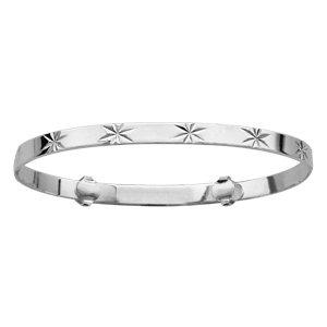1001 Bijoux - Bracelet argent enfant rigide coulissant motif diamanté étoile