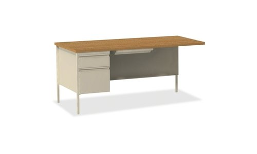 Lorell Single Left Pedestal Desk, 66 by 30 by 29-1/2-Inch, Putty Oak ()