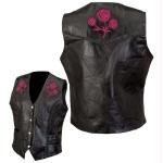 - Diamond Plate Rock Design Ladies Buffalo Leather Vest with Roses - Medium