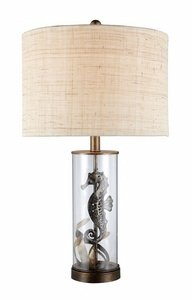 "Dimond D1980 Largo Table Lamp in with Natural Linen Shade and Off - White Fabric Liner, 15""W x 26""H, Bronze and Clear Glass"