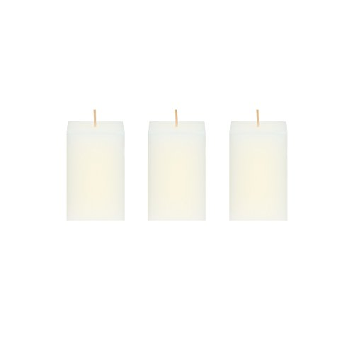 Mega Candles 3 pcs Unscented Ivory Square Pillar Candle | Hand Poured Premium Wax Candles 2'' x 3'' | For Home Décor, Wedding Receptions, Baby Showers, Birthdays, Celebrations, Party Favors & More by Mega Candles