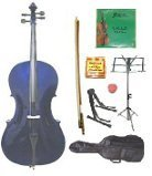 GRACE 1/16 Size Purple Cello with Bag and Bow+Rosin+Extra Set of Strings+Tuner+Cello Stand+Music Stand