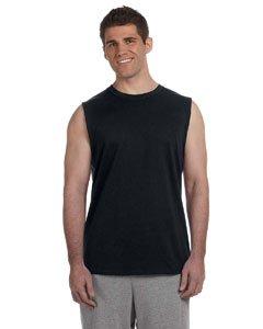 Gildan Men's Crewneck Sleeveless T-Shirt - BLACK - Small ()