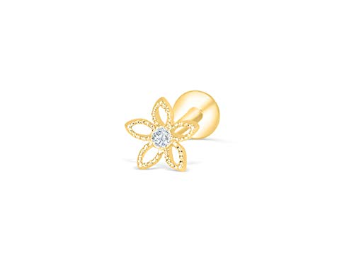 ONDAISY Cz Simulated Diamond Gold Plated 316 Surgical Stainless Steel Cute 16g Flower Star Ear 10mm Short Bar Labret Cartilage Tragus Helix Studs Post Earring Piercing jewelry For Women Girls ()