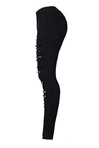 Nero Semplice Jeans Skinny Di Bottoni Unita Donna Pantaloni Con Vita Bassa Gambali Lunghi Glamorous Strappati Tinta Fori A Da Bxq0AgnU