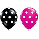 Polka Dot Balloons 11 Inch Premium Black and Berry Pink with All-Over Print White Dots Pkg/25 ()